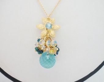 multi gem pendant natural opal gold vermeil, blue quartz pendant, genuine opal jewelry,  precious opal necklace