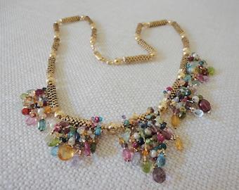 multi gemstone necklace 14k gold filled, precious stone necklace, semiprecious necklace, color sapphires, raw diamond, welo opals, toumaline