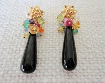 cluster drop dangle earrings,  black onyx earring, gemstone cluster earrings gold vermeil, colorful drop earring, statement earrings gold