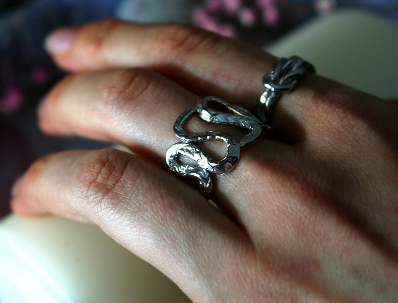 Wide band ouroboros snake ring Silver dancing snakes statement ring Kundalini divine feminine thumb ring Gold plated occult jewelry CELEANO