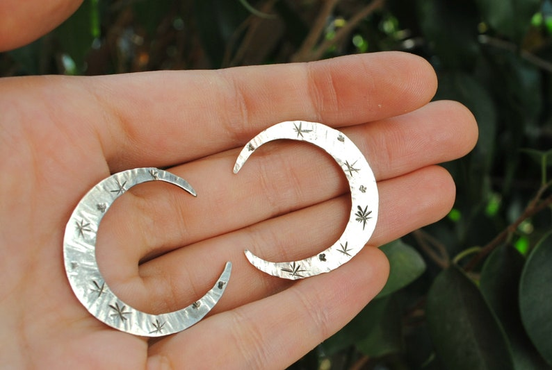 Silver Moon Earrings Constellation Studs Waning Waxing Crescents Celestial Phase Sterling Handmade Mystical Jewelry Women Occult