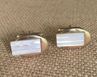 "Art Deco Oval Alabaster Cufflinks Gold Tone signed ""SWANK"" Formal wear Tuxedo Gold Vintage Cufflinks Gentleman Gifts for Men Groom"