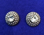 Round Graziano Rhinestone and Seed Pearl Silver Clip Earrings Vintage Clip Earrings