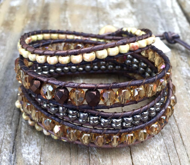 Natural Woman Topaz Beaded Leather Wrap Bracelet Bracelet Brown Amber  Silver Antique Cufflink Brown Leather Cord Czech Glass Beads