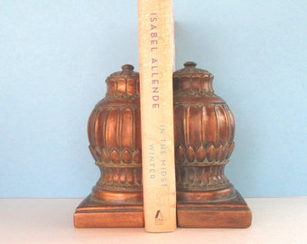 Antiqued gold Art Nouveau Revival ceramic bookends Andrea by Sadek collectibles - office or library shelf decor - vintage heavy bookends