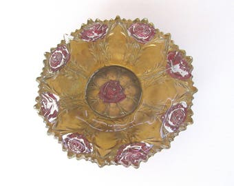 Antique gold and red rose goofus glass small bowl - candy dish - trinket dish - dresser bowl - circa 1890s - 1920s - AS IS