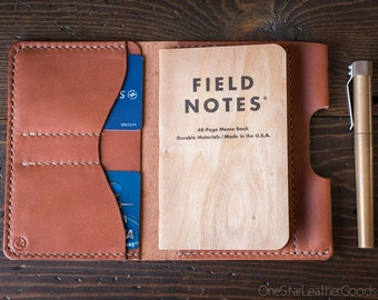"Field Notes wallet with pen sleeve ""Park Sloper Senior"" Horween leather - chestnut"
