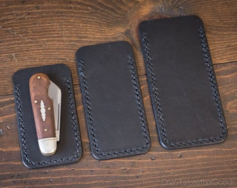 Pocket knife slip case - three sizes, black bridle leather
