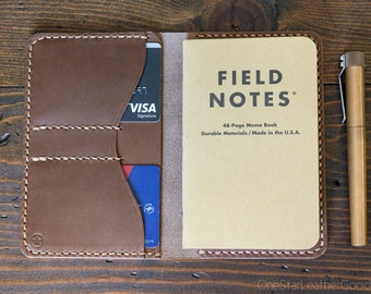"Notebook wallet ""Park Sloper No Pen,"" fits Field Notes and other notebooks - natural Horween Chromexcel / bark stitch"