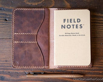 "Notebook wallet ""Park Sloper No Pen,"" fits Field Notes and other notebooks - Horween natural Dublin"