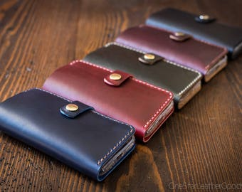 """BUILD-YOUR-OWN - iPhone 6+, 7+ & 8+ (5.5"""") cell phone wallet case with snap closure in Horween leather"""