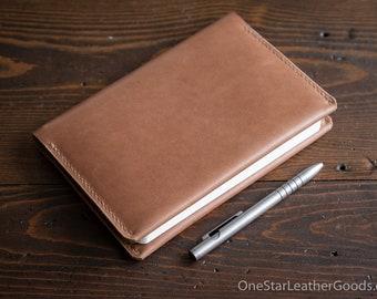 """Leather wrap cover for Baron Fig Confidant A5 """"Flagship"""" size, includes notebook - Horween natural latigo"""