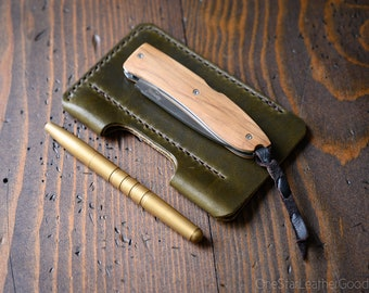 "EDC-2, every day carry pocket knife and pen case, Large size for knives up to 4.5"" closed - black, olive, chestnut or natural"