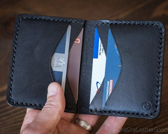 6 Pocket Horizontal Wallet - black bridle leather