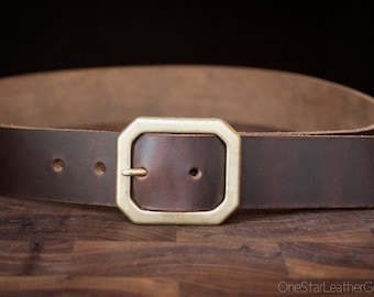 "Custom sized belt - 1.25"" width, Horween Chromexcel leather, center bar buckle - brown"