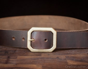 "Custom sized belt - Horween Chromexcel leather - 1.25"" center bar buckle - brown"