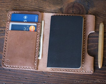 "Small notebook wallet and pen ""Park Sloper Junior"" Horween leather - natural Chromexcel"