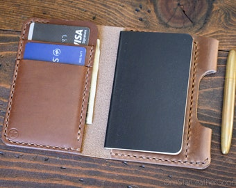 "Small notebook wallet and pen ""Park Sloper Junior"" for Fisher Space Pen Bullet - Horween natural Chromexcel leather"