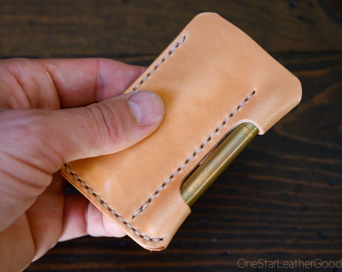 EDC-1, every day carry pocket knife and pen case, small size, for FisherSpacePen or Kaweco Liliput - tan harness leather