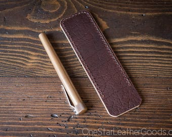 Pen Sleeve size large - hand stitched Horween leather - textured brown