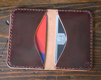 Two Pocket Card Wallet - burgundy Horween shell cordovan