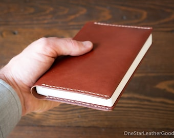Leather wrap cover for A6 sized softcover notebooks - fits Hobonichi planner, Midori, Muji, Apica, Nanami and more - medium brown latigo