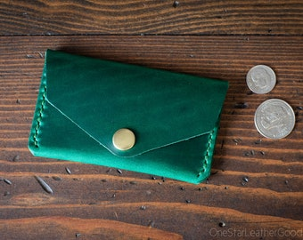 Coin pouch / wallet / business card case with snap, Horween Chromexcel leather - bright green