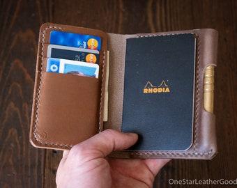 "Notebook/wallet/pen, ""Park Sloper Medium"" - Horween Chromexcel natural / natural thread"