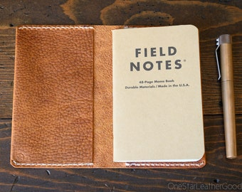 "Simple leather notebook cover for Field Notes and other 3.5x5.5"" pocket notebooks - textured tan"
