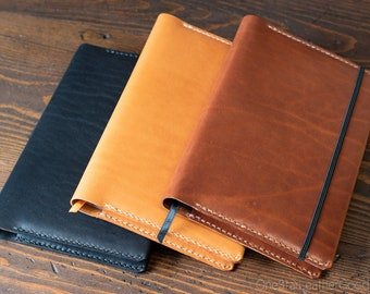 "Rhodia A5 ""Webnotebook"" Hardcover leather wrap cover - black, tan, or chestnut"