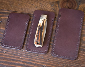 Pocket knife slip case - three sizes, brown bridle leather