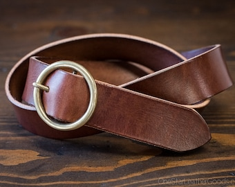 "Custom sized belt - 1.25"" width - 12 oz. chestnut harness leather - center bar buckle"