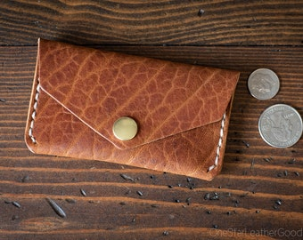 Coin pouch / wallet / business card case with snap, Horween leather - textured bison tan