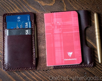 "Notebook/wallet/pen, ""Park Sloper Medium"" - Horween Chromexcel, burgundy"