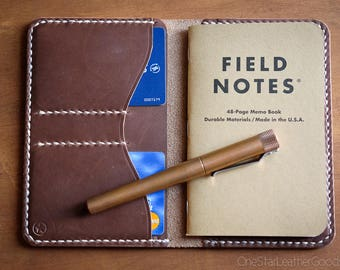 "Notebook wallet ""Park Sloper No Pen,"" fits Field Notes and other notebooks - natural Chromexcel"