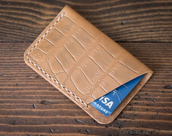The Minimalist: micro card wallet - croc print tan Horween leather