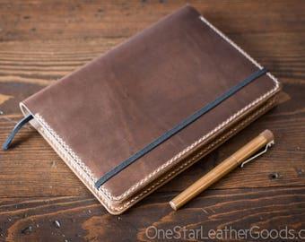 Leuchtturm 1917 Medium (A5) Hardcover Notebook cover + card pockets - natural chromexcel / natural thread