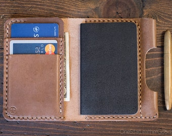 """Small notebook wallet and pen """"Park Sloper Junior"""" for Fisher Space Pen Bullet - Horween natural Chromexcel leather"""