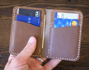 6 Pocket Vertical Leather Wallet, Horween Chromexcel - natural / natural stitch
