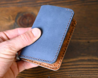 Limited Run - 6 Pocket Vertical Leather Wallet, Horween leather - slate / textured chestnut