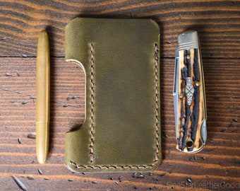 EDC-1, every day carry pocket knife and pen case, small size, for FisherSpacePen or Kaweco Liliput - olive