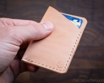 The Minimalist: micro card wallet - natural veg leather