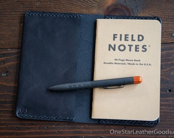 """Simple leather notebook cover for Field Notes and other 3.5x5.5"""" pocket notebooks - black"""