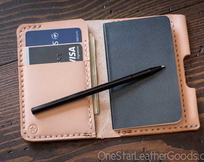 "Small Notebook Wallet and Pen ""Park Sloper Junior"" - natural veg leather"