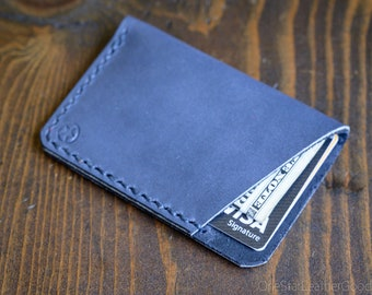 The Minimalist: micro card wallet - Horween leather - slate blue