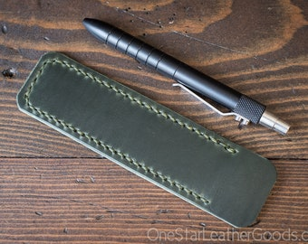 Pen Sleeve, Size Medium, Horween Chromexcel leather - forest green