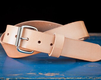"Custom sized belt - 1.5"" width - natural leather - heel bar buckle"