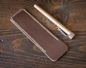 Pen Sleeve size large - hand stitched Horween Chromexcel leather - natural CXL