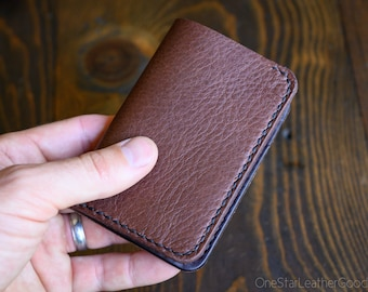 Limited Run - 6 Pocket Vertical Leather Wallet, Horween leather - pebble brown / dark brown