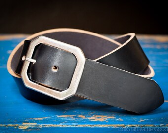 "Custom sized belt - 1.25"" width - Horween Chromexcel leather - center bar buckle - black"